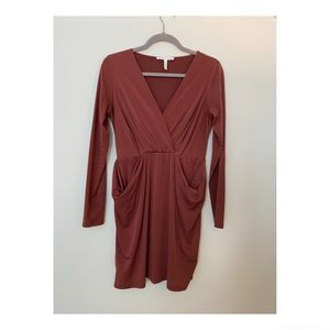 Mini  Surplice Brown Dress